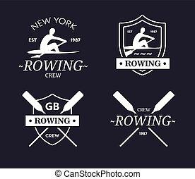 emblème, paddles., aviron, équipage, vecteur, équipe,...