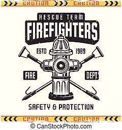 emblème, prise eau, brûler, pompier, vecteur, retro