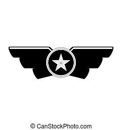 emblème, projection, rang, militaire, image, icône