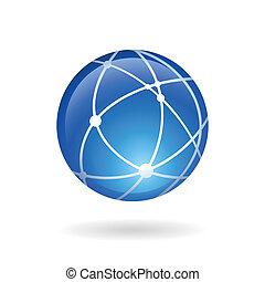 emblème, réseau, global, social, technologie, ou