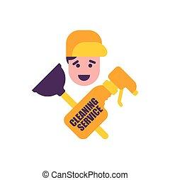 emblème, service, agent., caoutchouc, nettoyage, nettoyage, plongeur, logo.