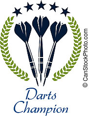 emblème, shampion, sport, dards