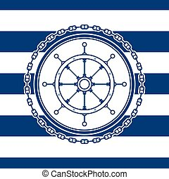 emblème, ship's, mer, roue