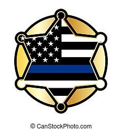 emblème, soutien, étoile, drapeau, police