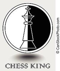 emblème, toile, vertical, roi, objet, partie, club, shadow., portail, noir, échecs, internet, monochrome, blanc, icône, splitted, conception, allumette, conçu