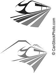 emblème, train, exprès, rail, vecteur, icône, transport