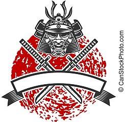 emblème, traversé, étiquette, logo, shirt., katana, t, signe, swords., illustration, élément, casque, affiche, conception, vecteur, samouraï