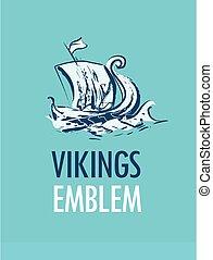 emblème, vikings, -, scandinave, mer, bateau, drakkar
