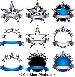 emblèmes, 5, set., étoiles, classique