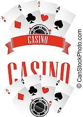 emblèmes, casino, ou, signes