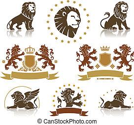 emblèmes, ensemble, lions, héraldique