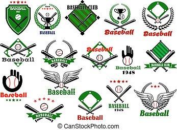 emblèmes, equipments, jeu, base-ball, logo, ou