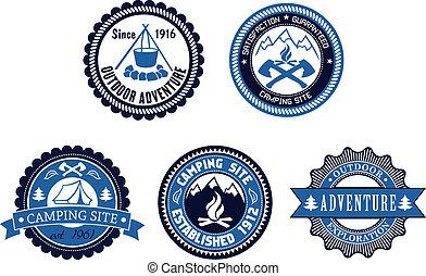 emblèmes, extérieur, ensemble, aventure, camping