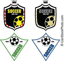 emblèmes, football, étiquettes