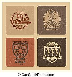 emblèmes, grunge, athlétique, vendange, étiquettes, sports, collège, varsity, équipes, insignes
