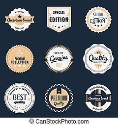 emblèmes, prime, set., étiquettes, isolé, illustration, vecteur, conception, logo, marques, éléments, stickers., qualité, insignes