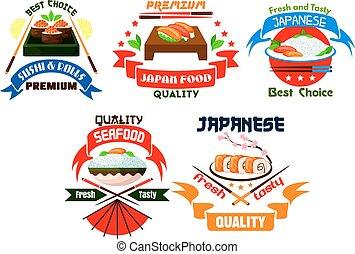 emblèmes, restaurant, nourriture japonaise