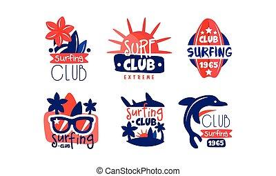 emblèmes, sport, vecteur, extrême, insignes, logo, collection, retro, conception, illustration, club, clair, surfer