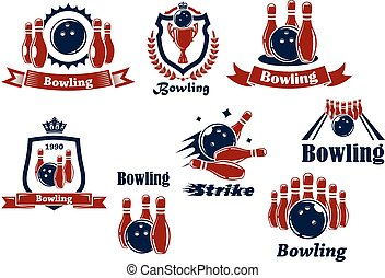 emblèmes, sports, bowling, icônes