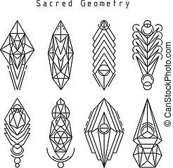 emblèmes, vecteur, linéaire, sacré