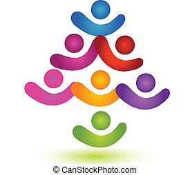 emblém, kolektivní práce, barvitý, strom, společenský