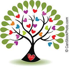 emblém, láska, vektor, strom