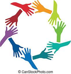 emblém, podoba, otřes, kruh, ruce