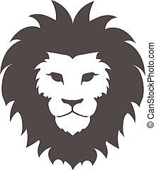 embléma, ügy, arc, póló, oroszlán, vektor, tervezés, sablon,...