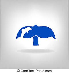 embléma, egy, farok, közül, egy, bálna