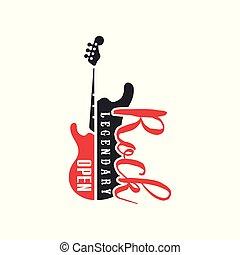 embléma, elektromos, klub, mesebeli, ábra, gitár, fesztivál, vektor, fekete, jel, háttér, kő, fehér, nyílik, vagy, piros