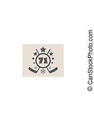 embléma, illustration., szám, jég, vektor, jégkorong, 71