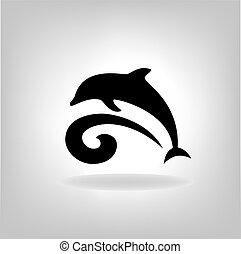 embléma, közül, egy, delfin, felett, a, tenger