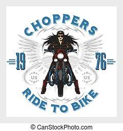 embléma, klub, szüret, garázs, motorkerékpár, motor, szexi, leány