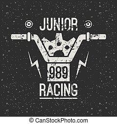 embléma, motorkerékpár, ifjú, versenyzés