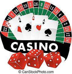 embleem, casino, badge, of