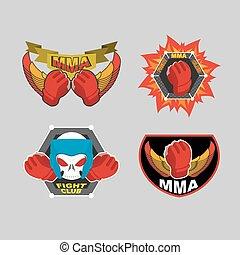 embleem, club, mma, set., illustratie, vechten, malen, vermalen, vector, logo.