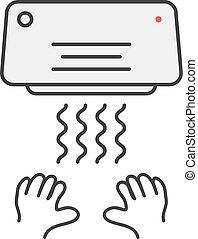 embleem, eenvoudig, hand, droger, dune lijn