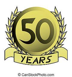 embleem, goud, 50th