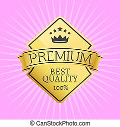 embleem, gouden kroon, topped, premie, kwaliteit, pictogram