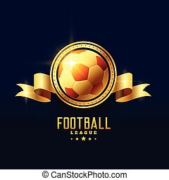 embleem, gouden, symbool, voetbal, badge