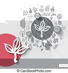 embleem, iconen, bladeren, hand, papier, achtergrond, getrokken