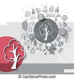 embleem, iconen, boompje, hand, papier, achtergrond, getrokken