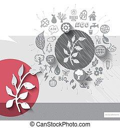 embleem, iconen, kruid, hand, papier, achtergrond, getrokken