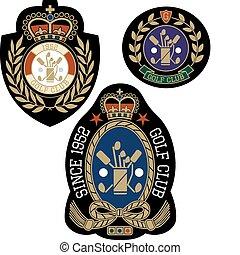 embleem, ontwerp, sportende, badge, classieke