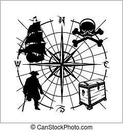 embleem, piraten, -, goud, borst, zeerover, schooner