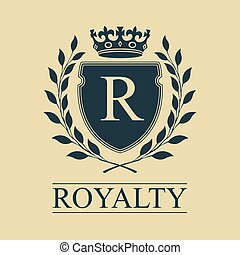 embleem, schild, koninklijk, heraldisch, kroon, wreath., arms., vector, illustratie, jas, laurier