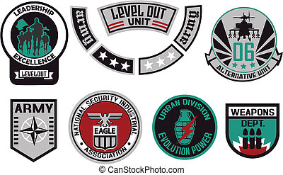 embleem, schild, militair, badge, logo