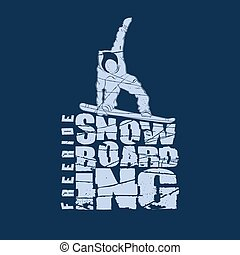 embleem, snowboarden, sportende