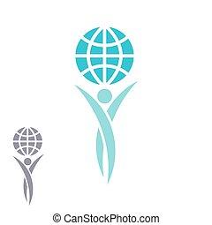 embleem, succes, logo, globe, handen op, creatief, planeet, idee, samen, aarde, sparen, prestatie, man
