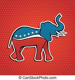 embleem, usa, verkiezingen, elefant, feestje, republikein